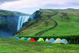 Camping in Island nahe des Skogafoss'